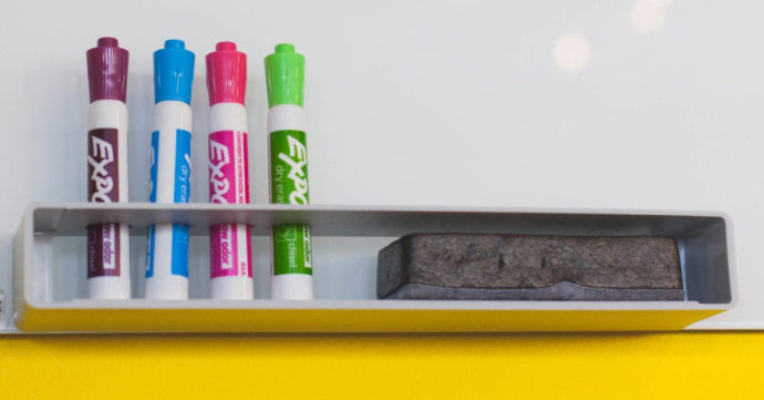 whiteboard and marker pens