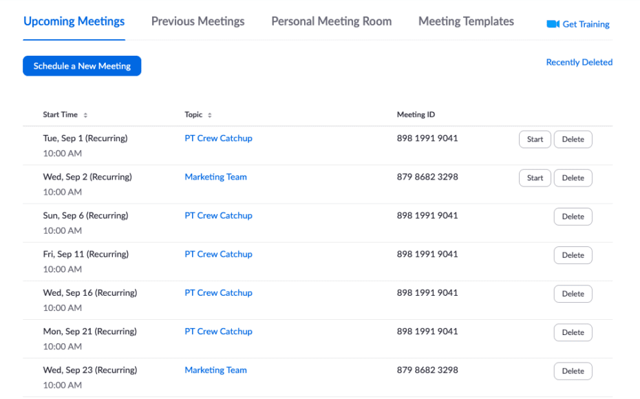 optimise your zoom account upcoming meetings tab